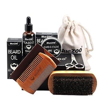 Kit Cuidado de Barba, Leegoal barba aseo y recorte kit-cepillo de cerdas de