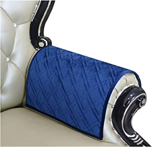 Haomaijia Nonslip Sofa Arm Covers Navy Velvet Armrest Covers for Loveseat Quilted Furniture Protector for Dogs Kids Pets (BNavy, Sofa Armrest Cover-2 Pieces)