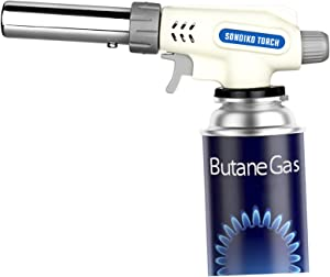 Sondiko Butane Torch, Culinary Torch Refillable Kitchen Blow Torch Lighter, Professional Chef Cooking with Safety Lock&Adjustable Flame for BBQ, Creme Brulee, Soldering (Butane Gas not Included)