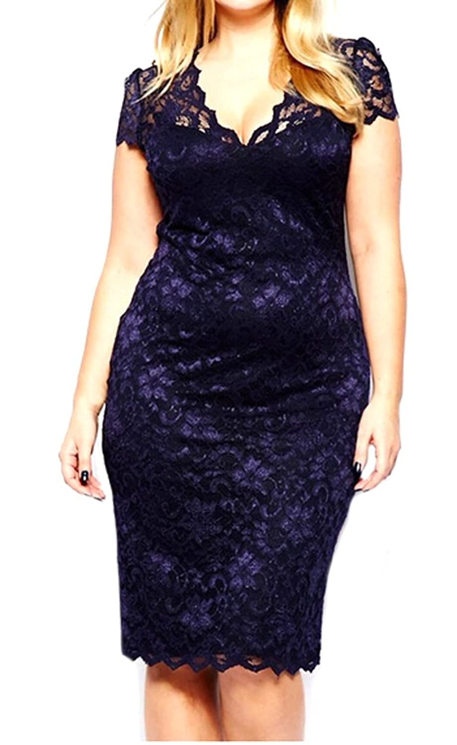 XQS Womens Sexy Back Hollow Plus Size Bodycon Cocktail Dress
