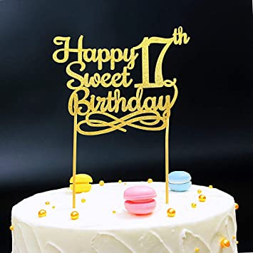 Gold Happy Sweet 17th Birthday Cake TopperGold Paper Topper Party