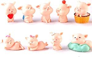 9 Pcs Miniature Pigs Figurines, Cute Pink Pig Family Toys Figures DIY Crafts for Fairy Garden Decoration Home Decor Cake Toppers