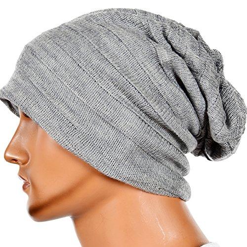 bafdcefb947 Men s Slouch Knitted Beanie Hat Crochet Stripe Winter Cap Oversized B318  (XZZ-Pale)
