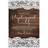 Faux Wood and Lace Unplugged Wedding Ceremony Sign Poster