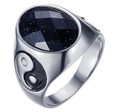 Bague acier yin yang