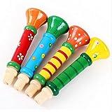 JUNGEN Multi-color Trompeta de madera Horn Whistle Instrumento Niños Musical educativo de juguete para bebé de más de 10 meses, Color aleatorio