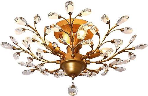 LuFun Modern Crystal Chandeliers,Crystal Pendant Light,Chandelier Lighting Fixtures,Ceiling Light for Living Room Bedroom Restaurant Hallway 4-Light,Gold