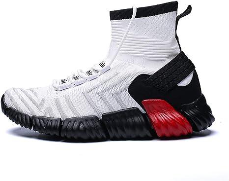 HCMONSTER Zapatillas de Deporte Colores Mezclados Hombres Zapatos Casuales Tallas Grandes Calcetines de Estiramiento Hombres Mosca Tejidos Zapatillas Hombres Calzado, 7, Blanco: Amazon.es: Deportes y aire libre