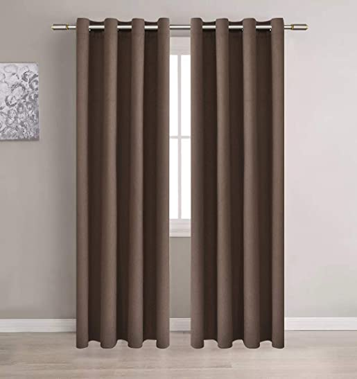 Light Toffee Brown Blackout Room Darkening Curtains Soft and Smooth Thermal Insulated Noise Reducing