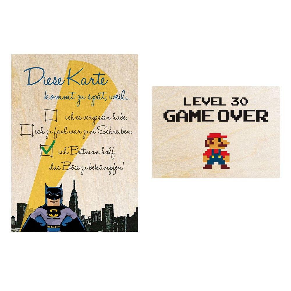 Magnética Madera Postal - Juego de 2 - cumpleaños Batman + ...