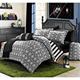 10 Piece Elegant Mirror Glass Design Comforter Set Full Size, Printed Bold Geometric Moroccan Trellis Diamonds Bedding, Modern Reversible Stripes Pattern, Classic Vertical Lines Theme, Black, White