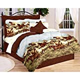 Majestic Running SHOW HORSES & PONIES Brown 8PC Comforter (76''x 86'') Set w/Sheets (Full/Double Size (Bed In A Bag Set))