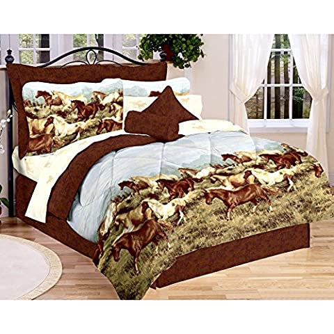 Majestic Running SHOW HORSES & PONIES Brown 6pc Comforter(66