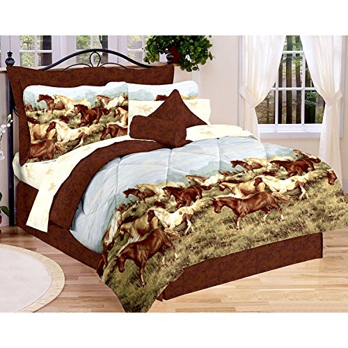 Majestic Running SHOW HORSES & PONIES Brown 8PC Comforter (76