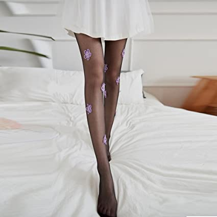 3131d5e5a Buy New Pantyhose Design Purple Flower Party Tattoo Black Socks and Stockings  Online at Low Prices in India - Amazon.in