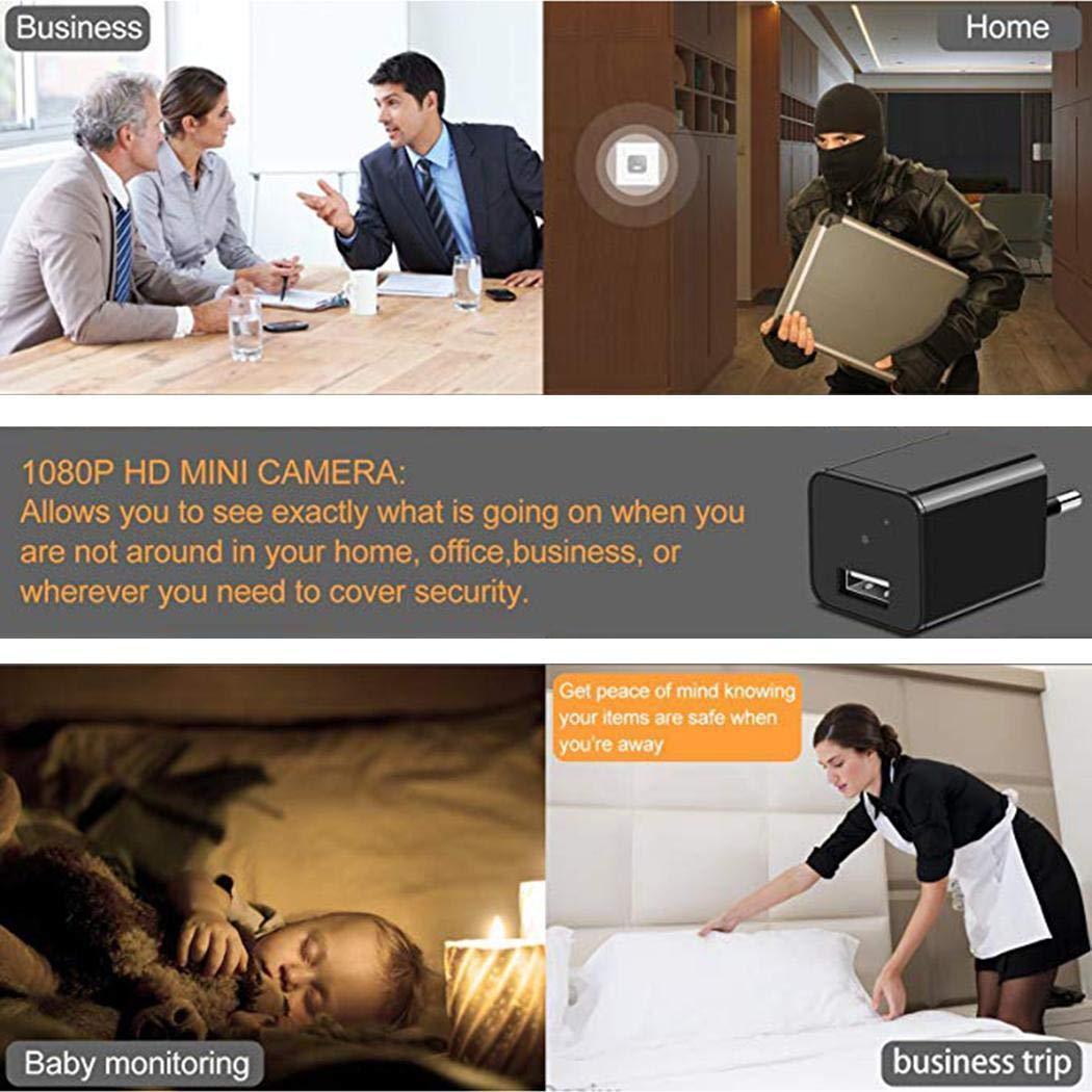 Amiubo Cámara espía Cámara oculta - Mini cámara espía - Cámara con cargador USB - Cámara espía oculta 1080P Cargador - Cámara oculta de niñera - Cámara ...