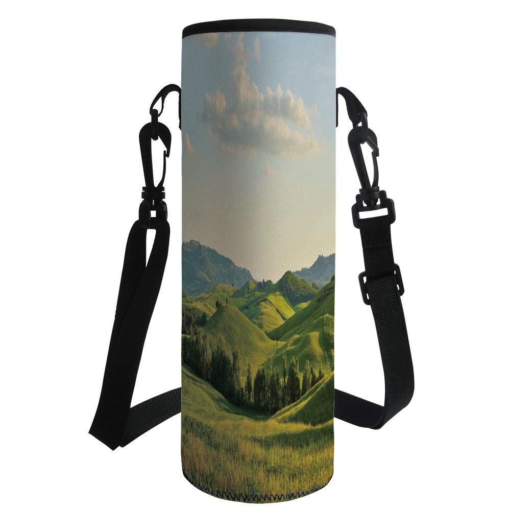 iPrint Water Bottle Sleeve Neoprene Bottle Cover,Country,Tuscany Hills Italy Meadow Greenery Pastoral Rural Scenery Farmland Scenic,Green Light Blue,Fit for Most of Water Bottles