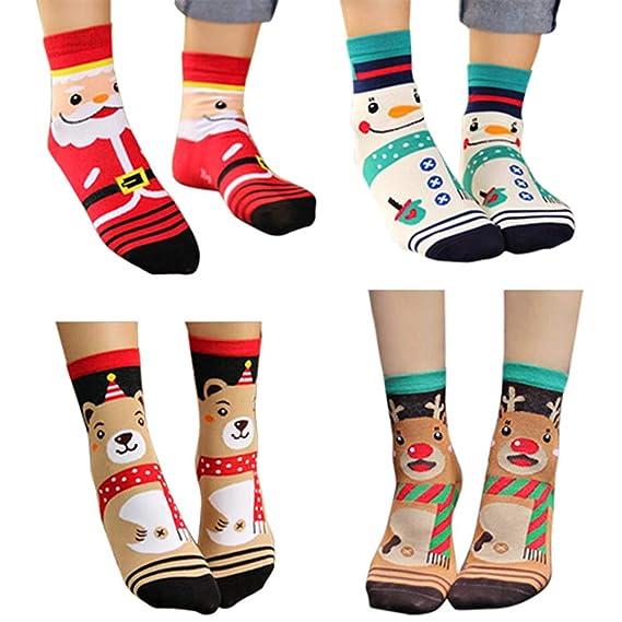 DOGZI 4PCS 3D Dibujos animados Navidad Calcetines Mujer Algodón Calcetines de piso Santa Claus Muñeco de