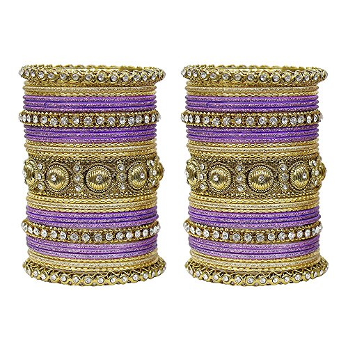MUCH-MORE Indian Traditional Amazing Collection Multi Color Bangles for Womens (Purple, 2.6)