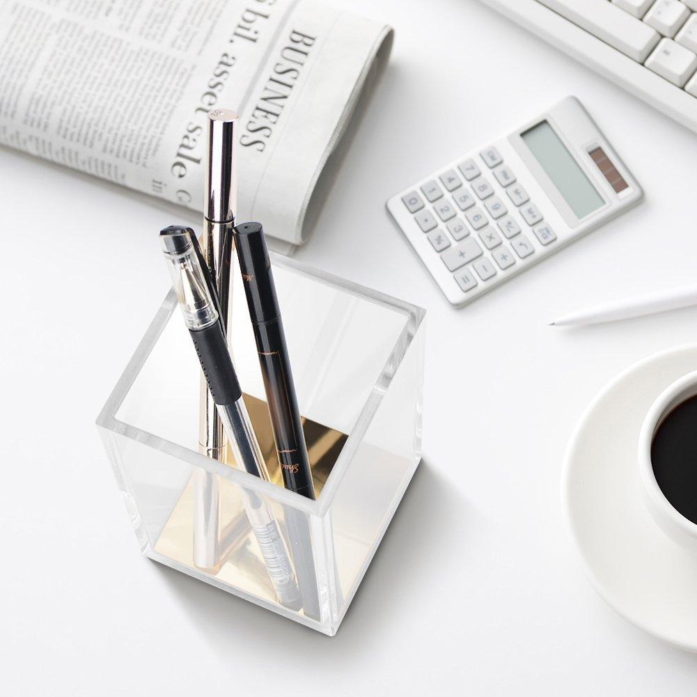 HBlife Gold Desktop Stationery Organizer Modern Design Office Desk Accessory Acrylic Pencil and Pen Holder