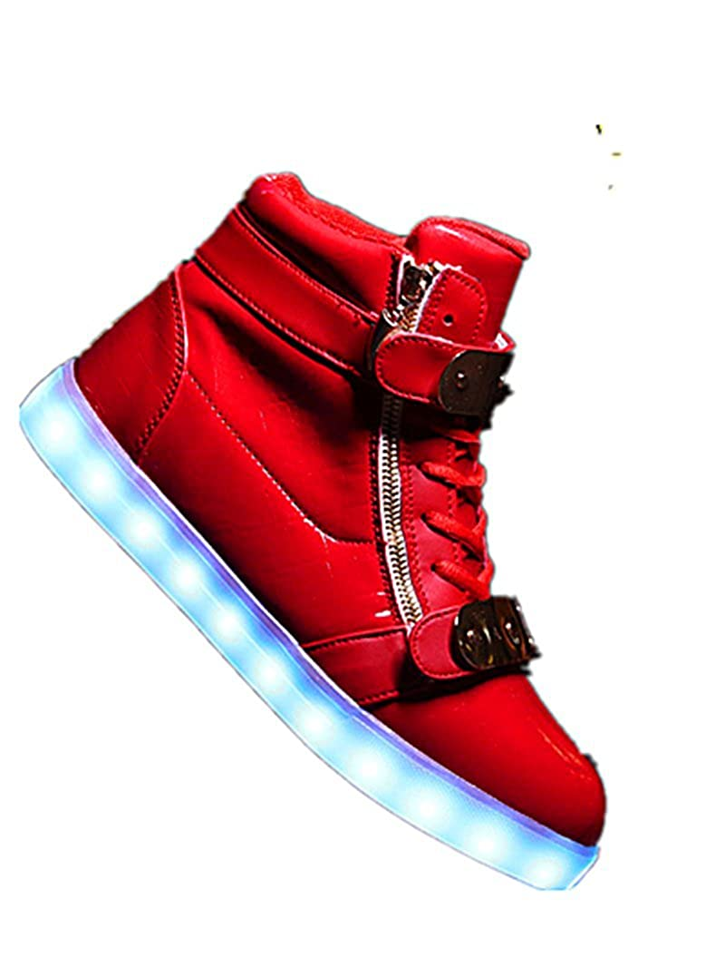 XIN BARLEY Boy Girl LED Light Up Shoes Street Style Gold Tone Zip Sneakers Toddler//Little Kid//Big Kid red38