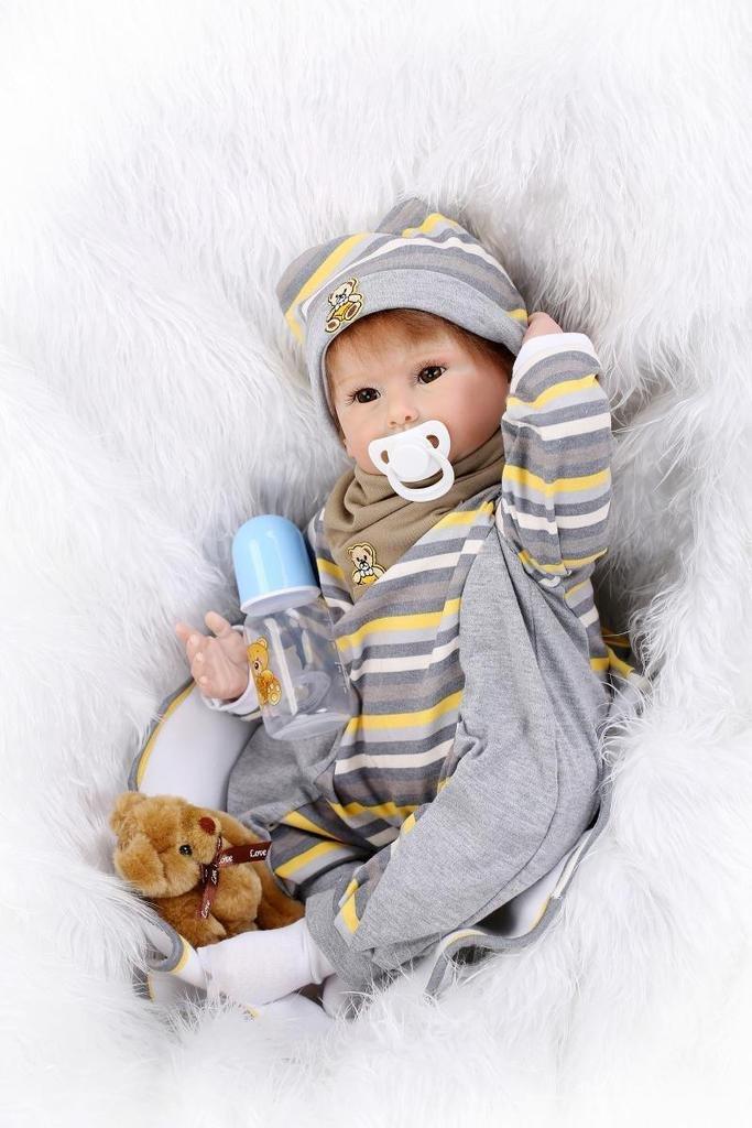Nicery 22inch Renacido de la Reborn muñeca de silicona suave vinilo 55cm magnética Boca realista muchacha del muchacho del oso de Marrón del juguete Reborn Baby Reborn Doll