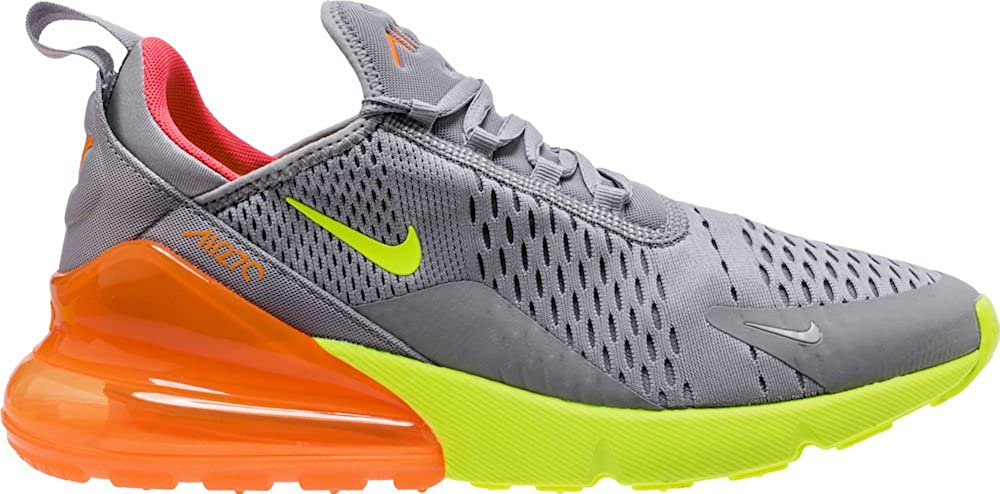 Nike Men's Air Max 270 Lifestyle Sneaker Atmosphere Grey Total Orange Hot Punch Volt