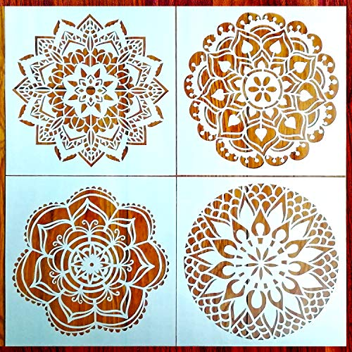 Reusable Mandala Floor Stencil Set of 4 (12 x 12 inch) Painting Stencil, Laser Cut Painting Template Floor Wall Tile Fabric Wood Stencils DIY Decor(CC)