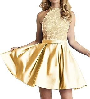 JAEDEN Homecoming Dress High Neck Short Cocktail Dress Sleeveless Lace Homecoming Dresses