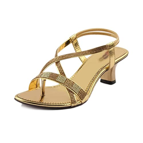 7e00a8f0fbc CUTE FASHION Women s Golden Heels-10  Buy Online at Low Prices in ...
