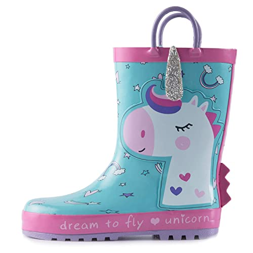 5324075c69 KomForme K Kids Girl Rain Boots, Waterproof Rubber Printed with Handles in  Various Prints and Different Sizes