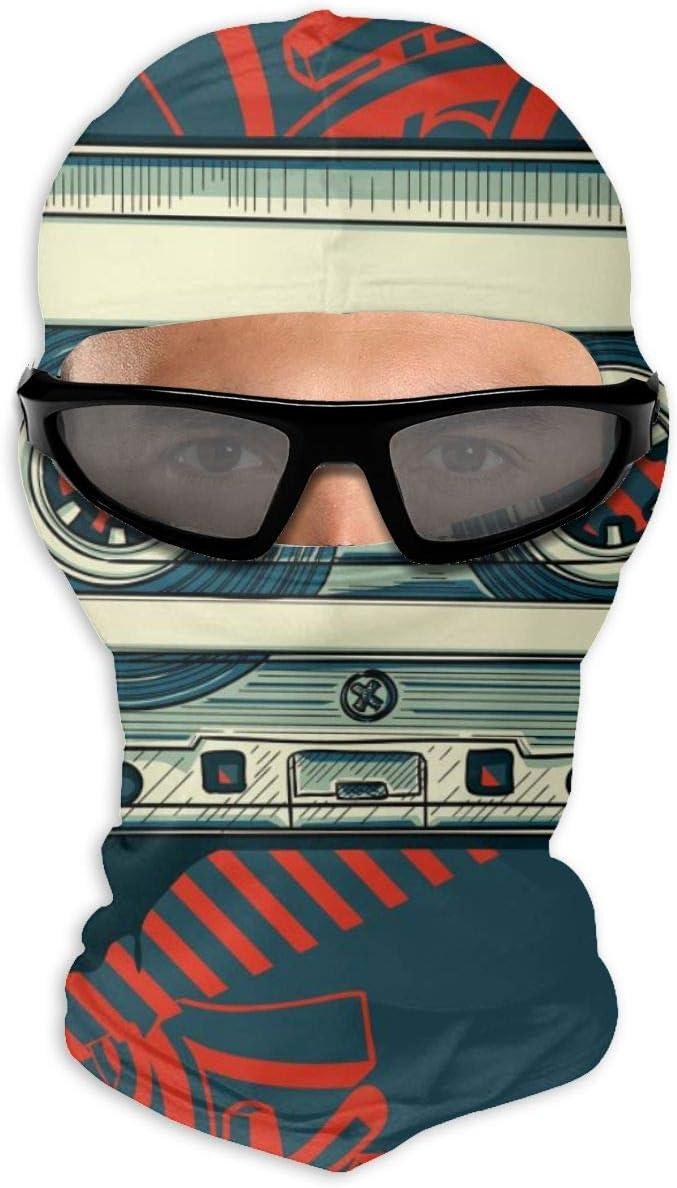 N/A Máscara de cara completa con cassette de audio sobre fondo grafiti máscara de protección solar de doble capa fría para hombres y mujeres