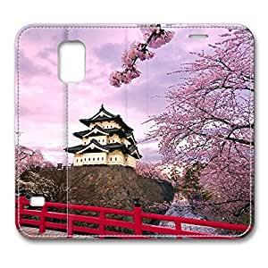Brain114 Fashion Style Case Design Flip Folio PU Leather Cover Standup Cover Case with Cherry Blossoms Japan 2 Pattern Skin for Samsung Galaxy S5 I9600