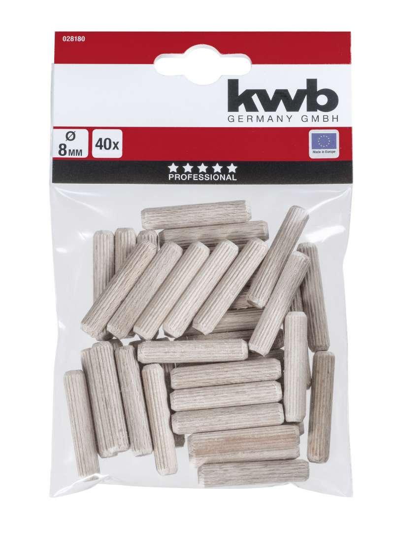 KWB 49028200 Pack de 30 espigas estriadas en haya de 10 mm,