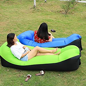 Ten Seconds Banana Down Sleeping Bag Camping Air Sofa Hangout Lazy Bag Inflatable Air Bed Waterproof Beach Bed Laybag (skyblue)