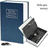 HENGSHENG 9.5 x 6.2 x 2.2 inches Steel Dictionary Book Diversion Safe with Lock- The Most Realistic Looking Books Safe - Stash your Valuables in Plain Sight! Weed Out Thieves! Perfect for Homes-Blue