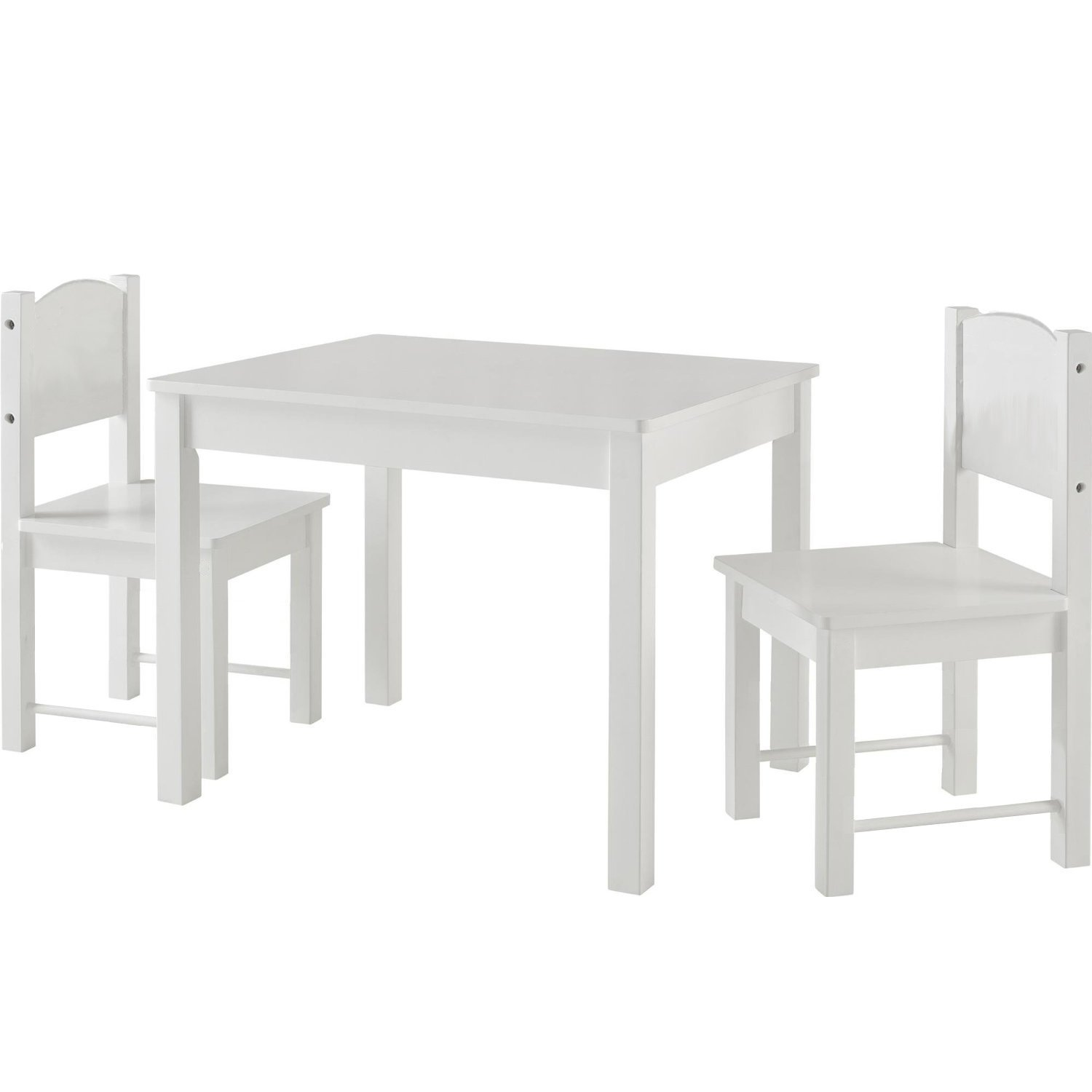 Timy Wooden Kids Table & 2 Chairs Set for for Playing, Learning, Eating, White by Timy