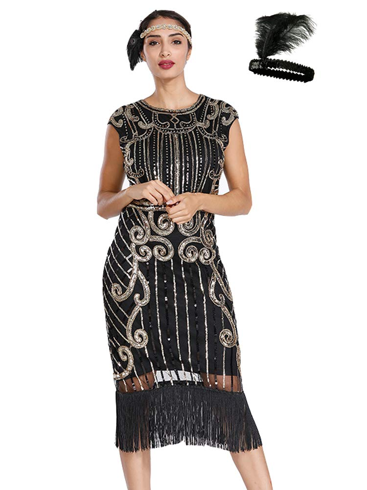 General Women's Flapper Dresses 1920s Gatsby Sequin Fringe Short Sleeve Dress