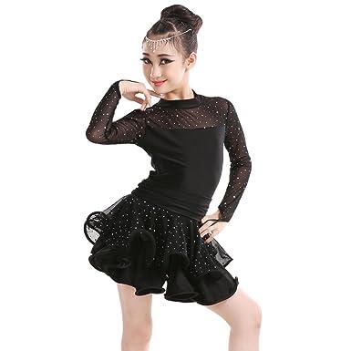 BOZEVON Latin Dance Costume Girls Children Elegant Sequin Yarn Long Sleeve  Dancewear Dress Competition Performances Dance Outfits ff2d7c19649c