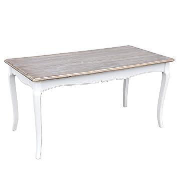 DonRegaloWeb - Mesa de comedor vintage de madera y dm blanco roto y ...