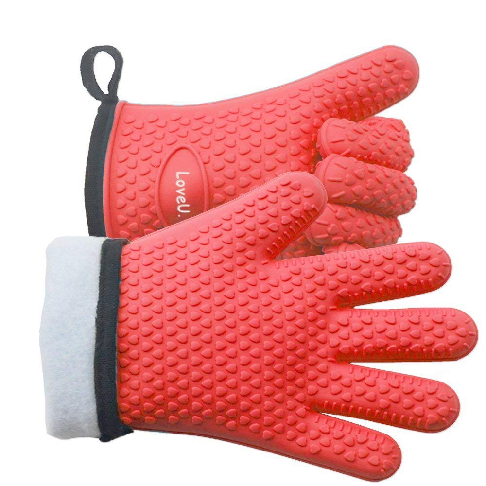 LoveU. Oven Mitts - Silicone and Cotton Double-Layer Heat Resistant Gloves/Silicone Gloves/Oven Gloves/BBQ Gloves - Perfect for Baking and Grilling - 1 Pair (One Size Fits Most, Red)