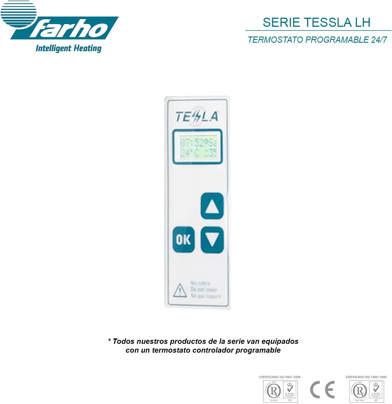farho Oil Filled Electric Radiator Thermostatic Wall Mounted HEATER Tessla LH /· 500 Watts /· Electric Panel Heater Intelligent With 7 Day Timer /& Thermostat and Optional WIFI 4