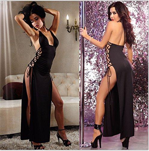 Wunhope Femme Lingerie Sexy Erotique Ouverte Robe Noire Bondage Nuisettes