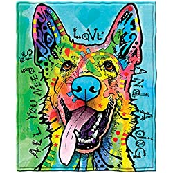 Dawhud Direct Dean Russo Love and a Dog German Shepherd Fleece Throw Blanket