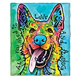 Dean Russo Love and a Dog German Shepherd Fleece Throw Blanket
