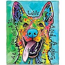 Dean Russo Love and a Dog German Shepherd Fleece Throw Blanket