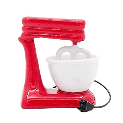 Odoria 1:12 Miniature Old-Fashioned Red Stand Mixer with Bowl Metall Dollhouse Kitchen Accessories: Toys & Games