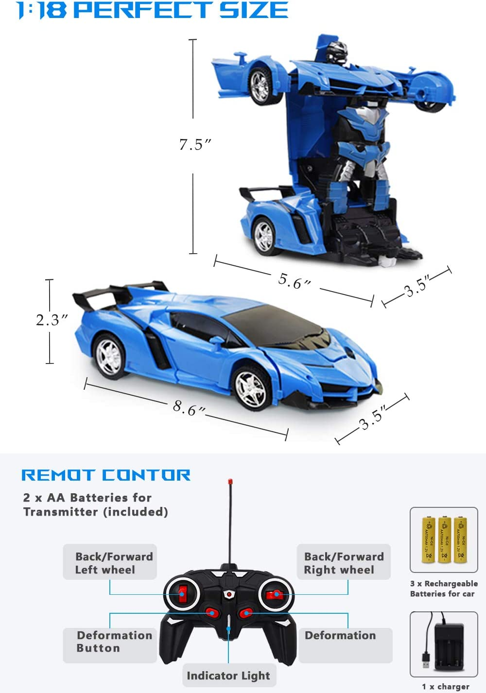One-Button Deformation and 360/°Rotating Drifting Blue ameow Remote Control Car Transform/Robot Gesture Sensing Toys,/RC Cars Robot for Kids Best Gift for Boys and Girls 1:18 -
