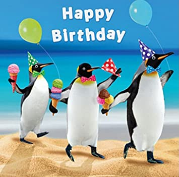Penguins Beach Party Birthday Card The Penguin Parade Amazon