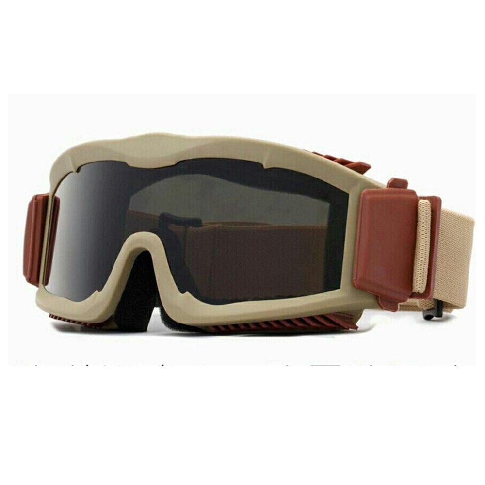 Militaire Alpha Ballistic Goggles Tactique Armée Lunettes de Soleil Airsoft CS Paintball Lunettes 3 Lens Kit (Noir) EnzoDate